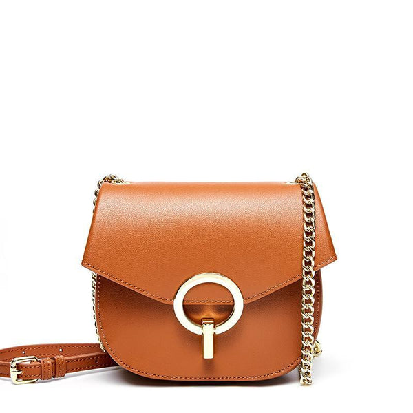 Trendinggate.com brown Baggage Girls 2019 Leather Girls Baggage European and American Fashion Retro Small Popular Design Chain Baggage Retro Small Round Baggage