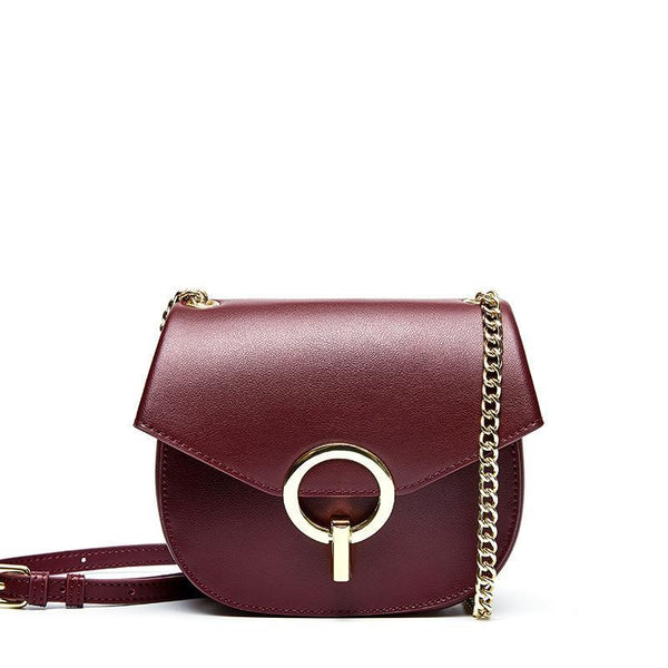 Trendinggate.com Wine purple Baggage Girls 2019 Leather Girls Baggage European and American Fashion Retro Small Popular Design Chain Baggage Retro Small Round Baggage
