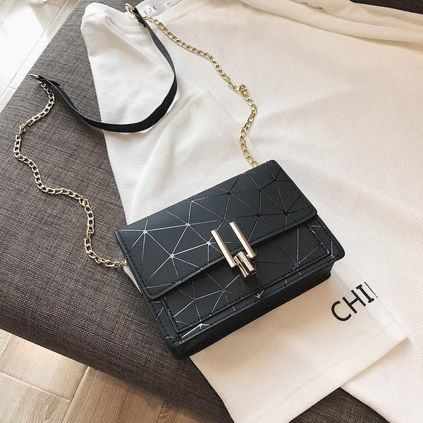 Trendinggate.com Black Collection Pays Attention to Courtesy bagsBag woman 2019 summer new fashion small square bag Korean version 100 lap chain bag single shoulder bag oblique satchel bag
