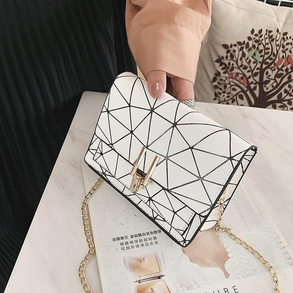 Trendinggate.com White Collection Pays Attention to Courtesy bagsBag woman 2019 summer new fashion small square bag Korean version 100 lap chain bag single shoulder bag oblique satchel bag