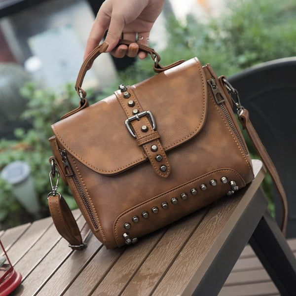 Trendinggate.com bagsBag women 2019 foreign trade women's bag rivets double pull Europe and the United States shoulder slung handbag women's instant messenger