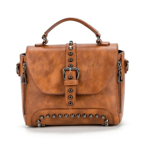 Trendinggate.com brown bagsBag women 2019 foreign trade women's bag rivets double pull Europe and the United States shoulder slung handbag women's instant messenger