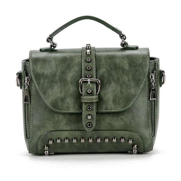 Trendinggate.com green bagsBag women 2019 foreign trade women's bag rivets double pull Europe and the United States shoulder slung handbag women's instant messenger