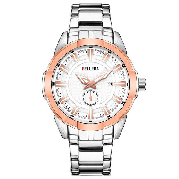 Trendinggate.com Men's Watches BELLEDA an effortless complement shiny silver band for most colors