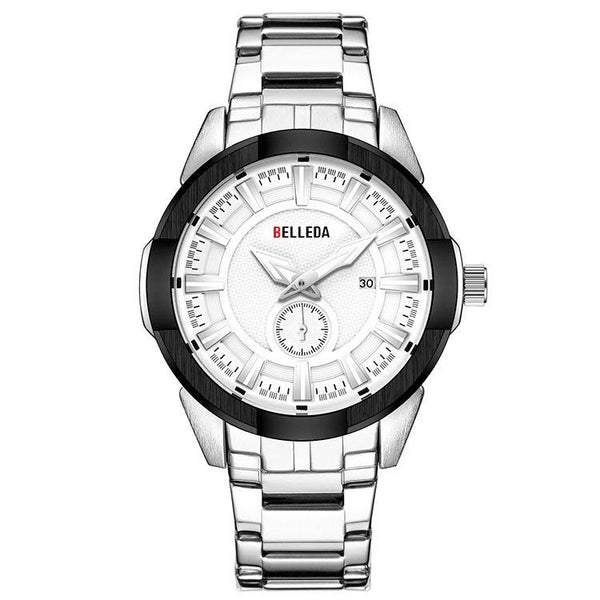 Trendinggate.com Men's Watches White, black, white, white. BELLEDA an effortless complement shiny silver band for most colors
