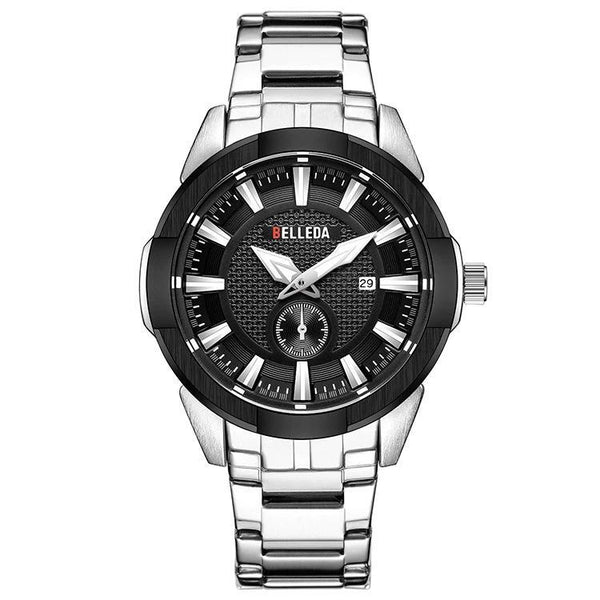 Trendinggate.com Men's Watches White to Black BELLEDA an effortless complement shiny silver band for most colors