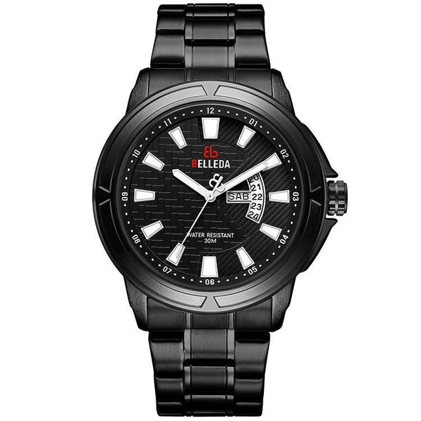 Trendinggate.com Men's Watches Black Shell, Black Circle, Black Steel Strip, Black Face BELLEDA black band adds contrast and a classic appeal