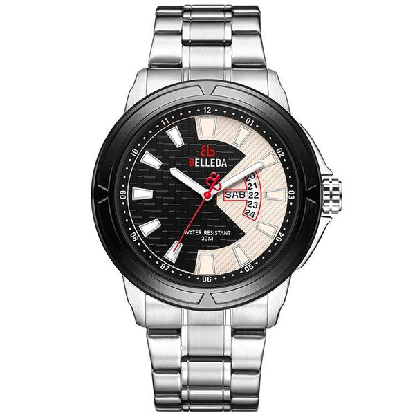 Trendinggate.com Men's Watches White face of white shell black ring white steel strip BELLEDA black band adds contrast and a classic appeal