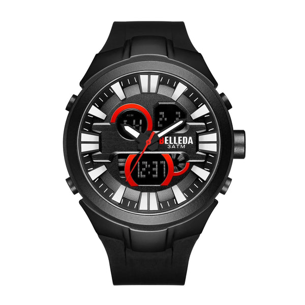 Trendinggate.com Men's Watches Black shell red nail BELLEDA flexible rubber band to keep it secure and comfortable