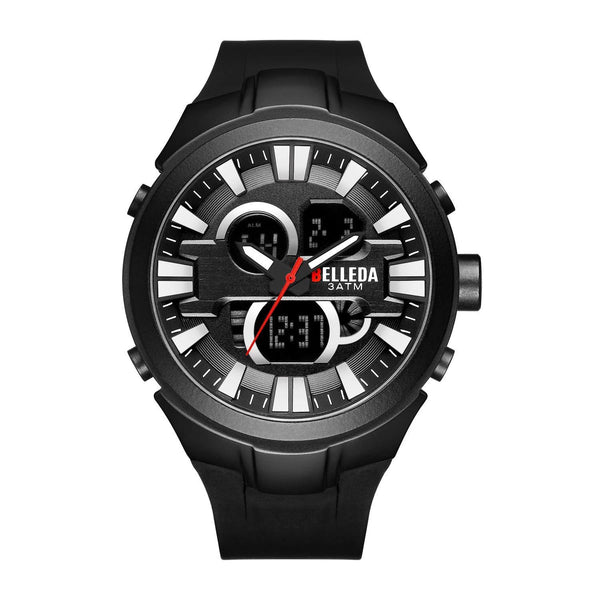 Trendinggate.com Men's Watches Black shell silver nail BELLEDA flexible rubber band to keep it secure and comfortable