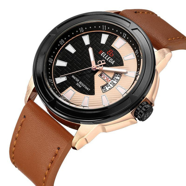 Trendinggate.com Men's Watches BELLEDA leather band for a cool vintage look
