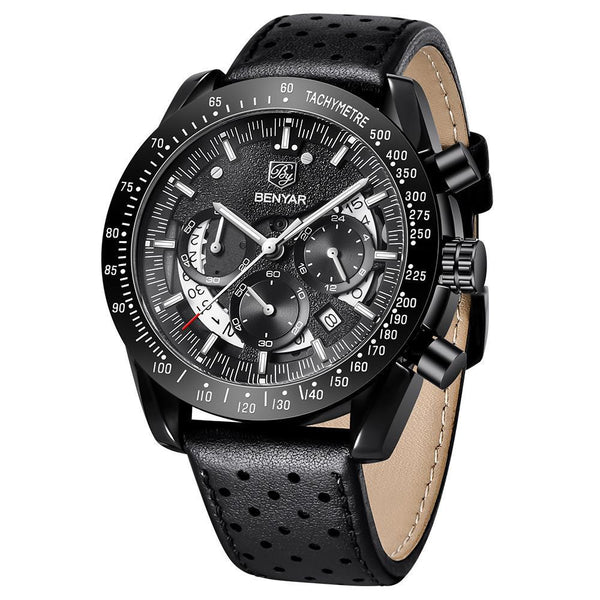 Trendinggate.com Men's Watches Black leather belt BENYAR watch simple round face and quartz movement