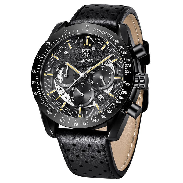 Trendinggate.com Men's Watches Black Shell Gold Strip BENYAR watch simple round face and quartz movement
