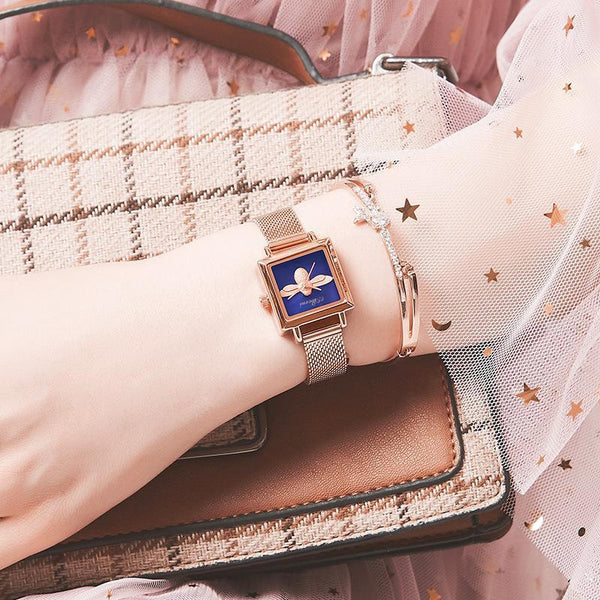 Trendinggate.com Rose Shell Blue Face Blockbuster Square Bee Watch Ladies French Watch Quartz Watch Waterproof Tremble Processing Customization