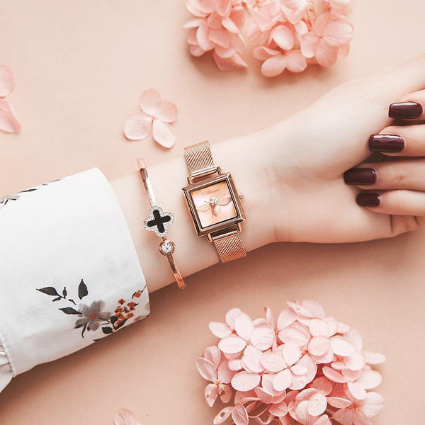 Trendinggate.com Rose Shell Gold Face Blockbuster Square Bee Watch Ladies French Watch Quartz Watch Waterproof Tremble Processing Customization