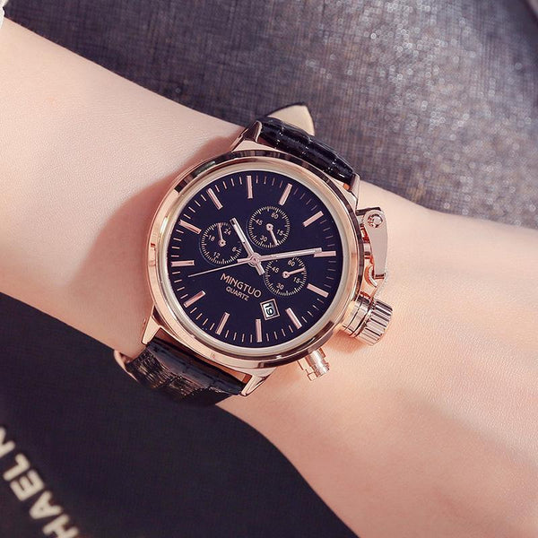Trendinggate.com Black belt Burst Korean fashion big watch women's Korean version of simple casual waterproof night light women's watch wholesale factory direct sales