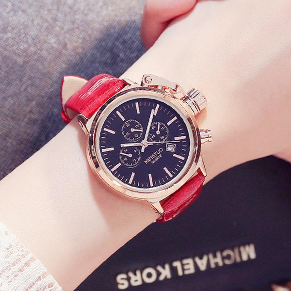Trendinggate.com Black face red belt Burst Korean fashion big watch women's Korean version of simple casual waterproof night light women's watch wholesale factory direct sales