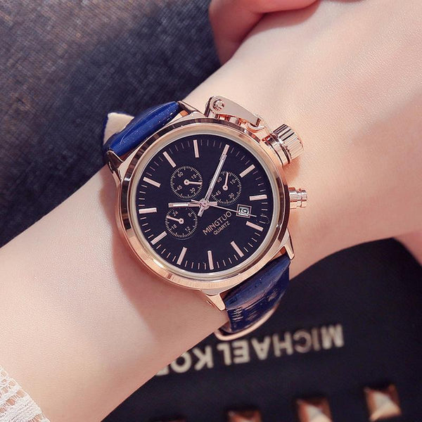 Trendinggate.com Black-faced blue ribbon Burst Korean fashion big watch women's Korean version of simple casual waterproof night light women's watch wholesale factory direct sales