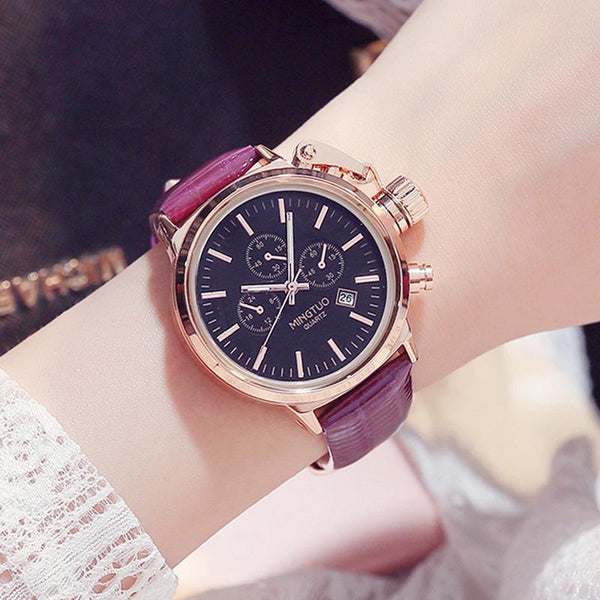 Trendinggate.com Black purple belt Burst Korean fashion big watch women's Korean version of simple casual waterproof night light women's watch wholesale factory direct sales