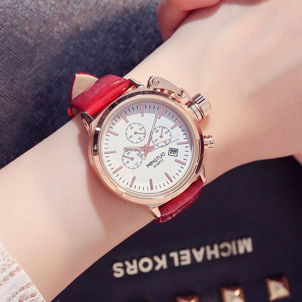 Trendinggate.com White face red belt Burst Korean fashion big watch women's Korean version of simple casual waterproof night light women's watch wholesale factory direct sales