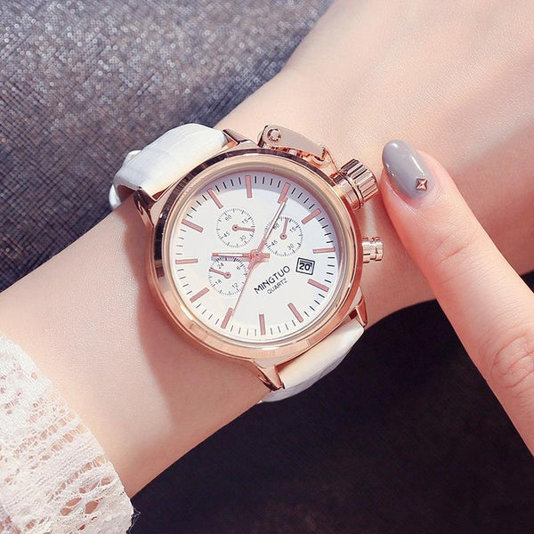 Trendinggate.com White leucorrhea Burst Korean fashion big watch women's Korean version of simple casual waterproof night light women's watch wholesale factory direct sales