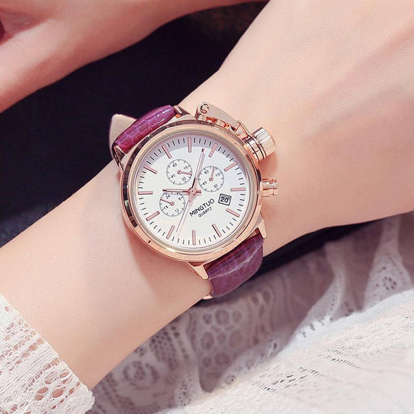 Trendinggate.com White Purple Ribbon Burst Korean fashion big watch women's Korean version of simple casual waterproof night light women's watch wholesale factory direct sales
