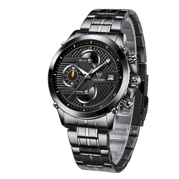 Trendinggate.com Men's Watches Black face and black shell steel strip CADISEN black band for a subtle look fits most colors easily