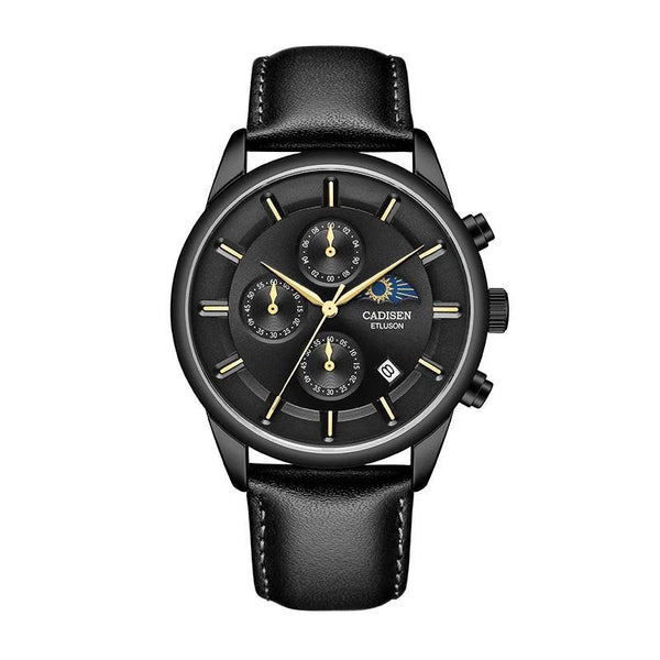 Trendinggate.com Men's Watches Black shell black leather belt CADISEN classic leather band for a look that never goes out of style