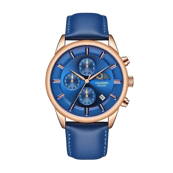 Trendinggate.com Men's Watches Rose shell blue blue leather CADISEN classic leather band for a look that never goes out of style