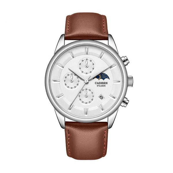 Trendinggate.com Men's Watches White shell, brown skin, white flour CADISEN classic leather band for a look that never goes out of style