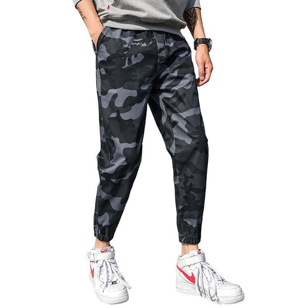 Trendinggate.com Camouflage trousers, men's small trousers, loose tide brand military training men's nine-minute trousers, large-size overalls, leisure trousers
