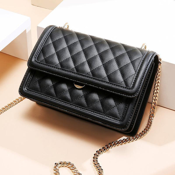 Trendinggate.com Cowhide women's bag new leather women's bag messenger bag 2019 autumn and winter diamond embroidery chain bag diagonal shoulder bag