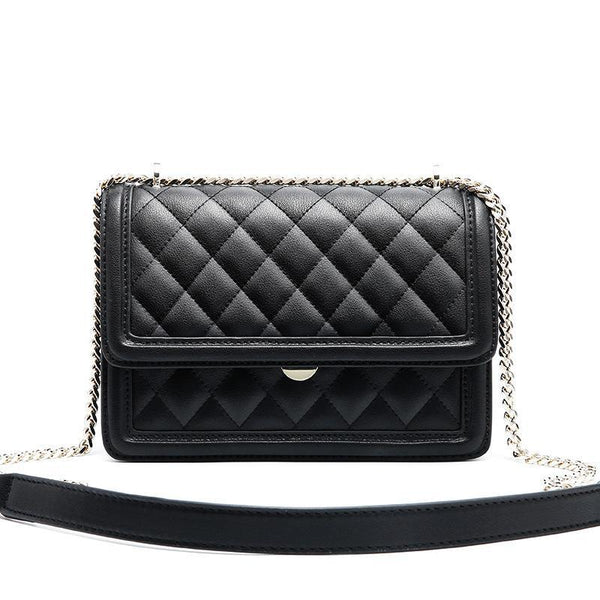 Trendinggate.com black Cowhide women's bag new leather women's bag messenger bag 2019 autumn and winter diamond embroidery chain bag diagonal shoulder bag