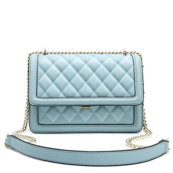 Trendinggate.com Blue Cowhide women's bag new leather women's bag messenger bag 2019 autumn and winter diamond embroidery chain bag diagonal shoulder bag