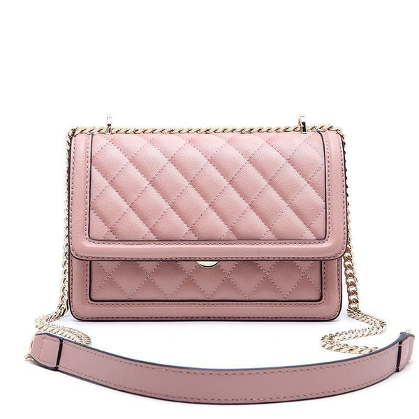 Trendinggate.com rose hermosa Cowhide women's bag new leather women's bag messenger bag 2019 autumn and winter diamond embroidery chain bag diagonal shoulder bag