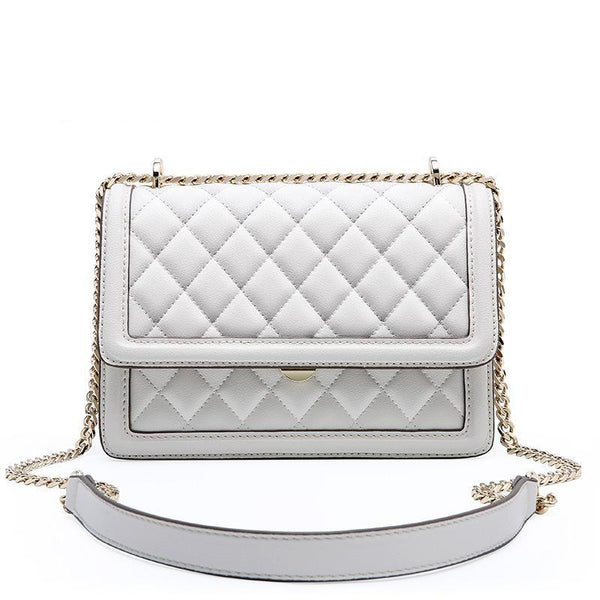 Trendinggate.com White Cowhide women's bag new leather women's bag messenger bag 2019 autumn and winter diamond embroidery chain bag diagonal shoulder bag