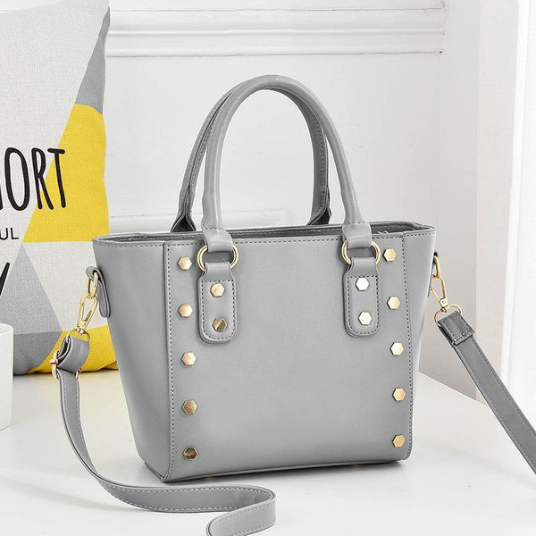 Trendinggate.com Light grey Cross-border supply of new shoulder bag women's handbags European and American style rivets PU leather wing bag ladies handbag messenger bag