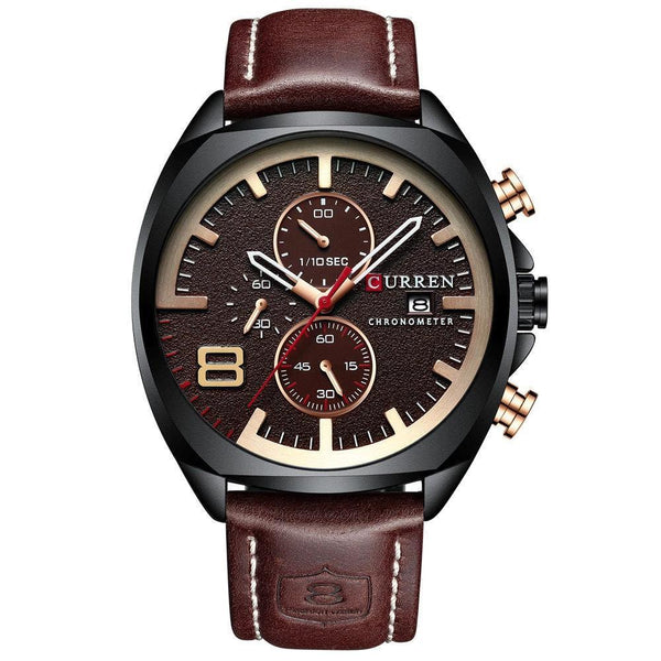 Trendinggate.com Men's Watches Black shell coffee noodles CURREN watch Elegant crafted versatile design goes from casual to formal easily
