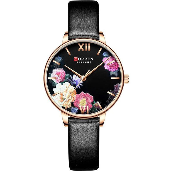 Trendinggate.com Rose shell black face Curren women watches外贸热卖卡瑞恩皮带手表 简约花朵时尚手表