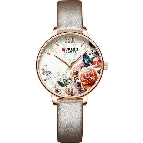 Trendinggate.com Rose shell white flour Curren women watches外贸热卖卡瑞恩皮带手表 简约花朵时尚手表