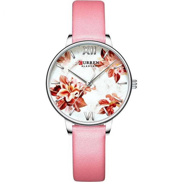 Trendinggate.com Silver shell white flour Curren women watches外贸热卖卡瑞恩皮带手表 简约花朵时尚手表
