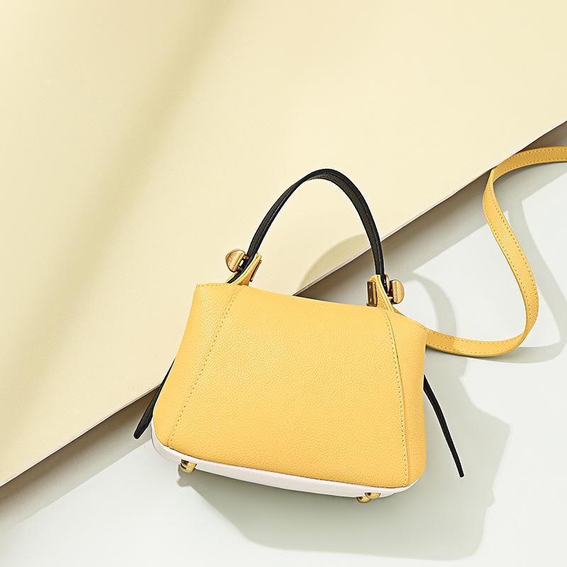 Trendinggate.com Lemon yellow Customization of Boston Bag Leather Single Shoulder Slant Bag in Summer