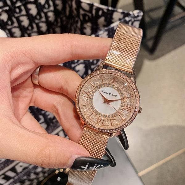 Trendinggate.com DACR2019New Watches Women's Fashionable Atmospheric Crystal Quick Sand Watchboard Milan Mesh Waterproof Simple Watch