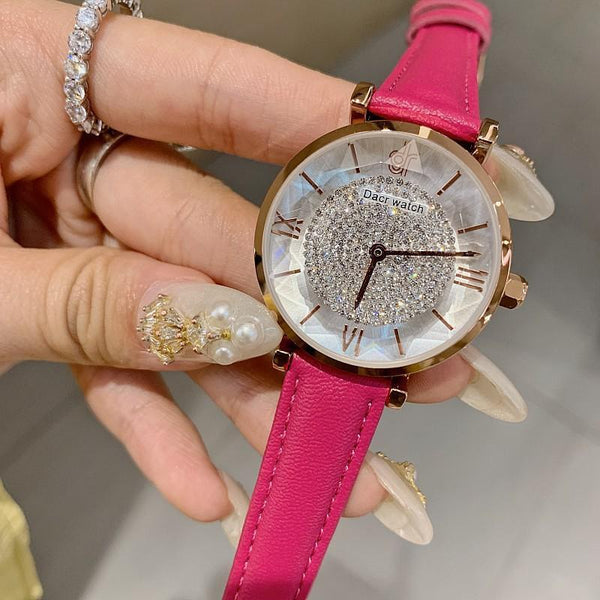 Trendinggate.com Rose red belt DACRNew starry diamond watch women's fashion trend atmosphere quartz watch Korean version of the simple women's watch