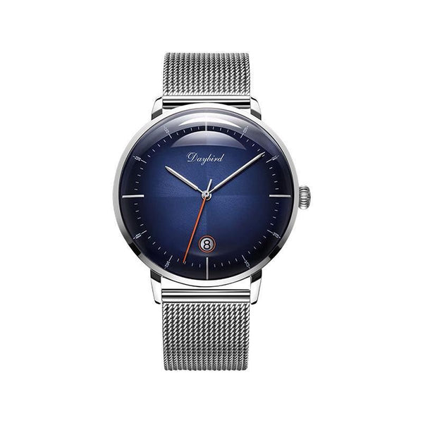 Trendinggate.com Men's Watches 3A118Steel blue face steel mesh belt DAYBIRD casual watch that takes you to the next level