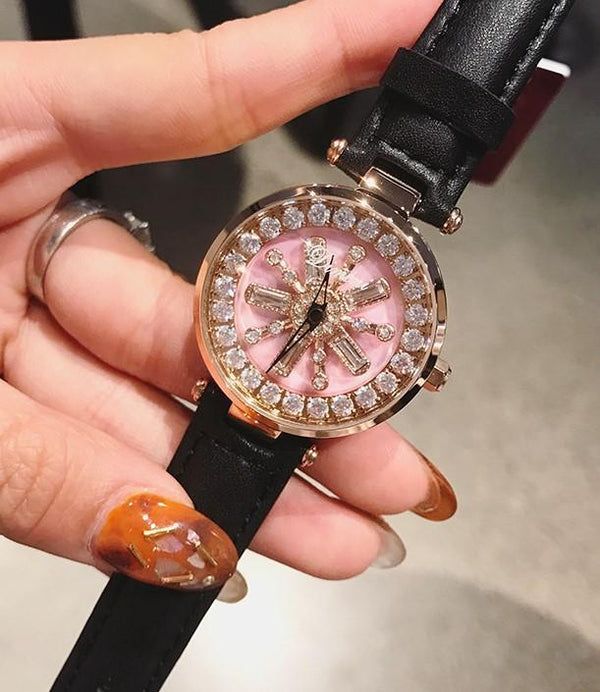 Trendinggate.com Women's watches Pink face black belt DIMINI Fashion Snowflake Drill Waterproof Watch