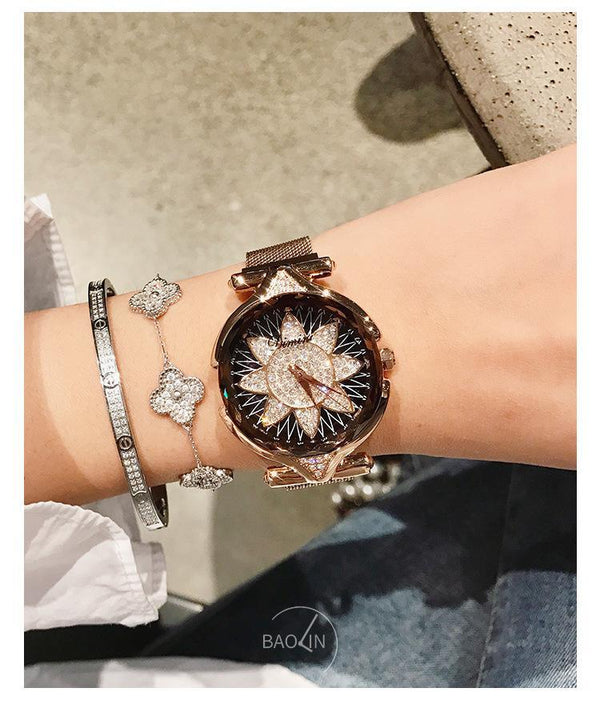 Trendinggate.com Rose gold black bottom Dimini Timi brand fashion magnet watch Vibrating sound explosion net red watch women watches