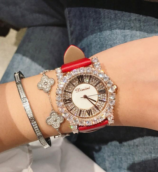 Trendinggate.com [Large] big red skin Dimini Timi full diamond net red watch Vibrating sound burst fashion waterproof women's watch women watches