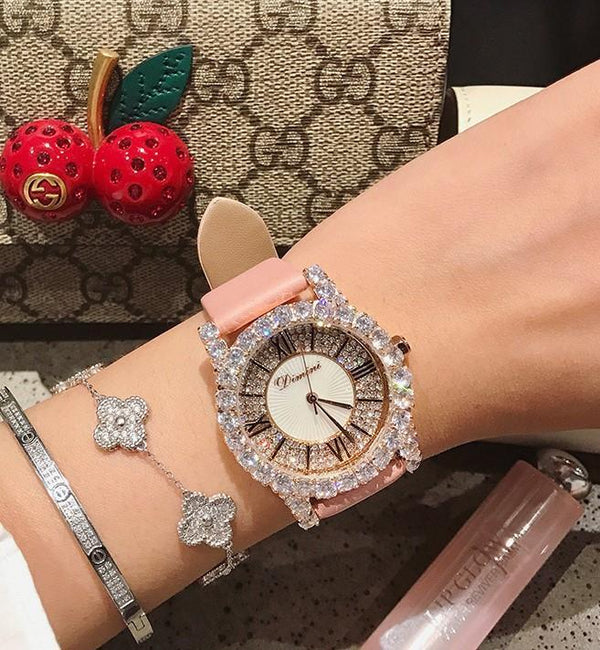 Trendinggate.com [Large] pink leather Dimini Timi full diamond net red watch Vibrating sound burst fashion waterproof women's watch women watches