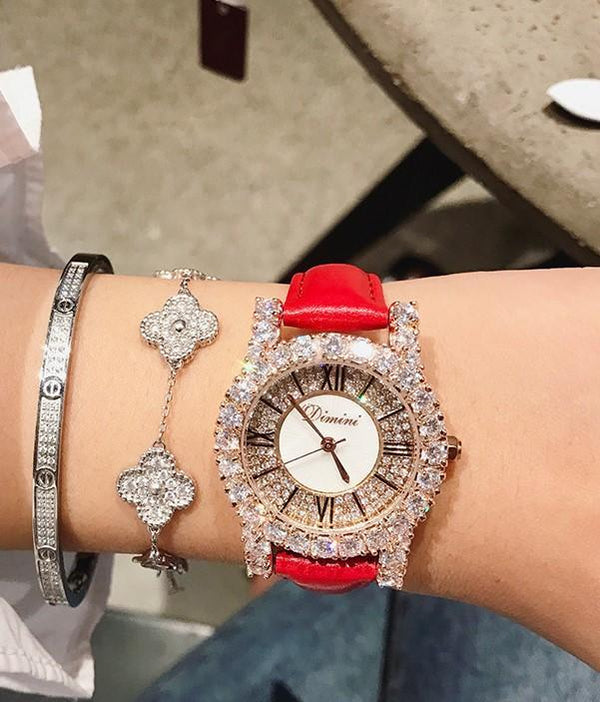 Trendinggate.com [small] big red skin Dimini Timi full diamond net red watch Vibrating sound burst fashion waterproof women's watch women watches